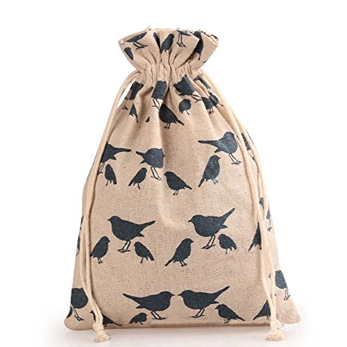 TooGet Doble Cordón de Algodón de Lino Saco de Yute Bolsas de Muselina Favorecer Regalo de Boda Joyería Caramelo Bolsas de Embalaje 10x12cm (Pájaro) - 12PCS