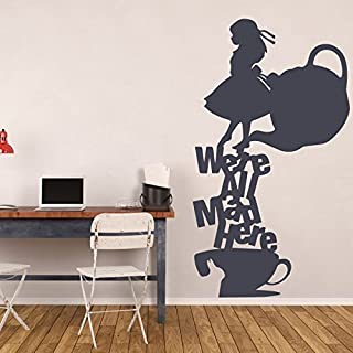 Alice In Wonderland Wall Decal Tea Party Vinyl Stickers - We're All Mad Here - Creatively Unique Home Decor Mural