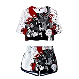 wywyet 3D Anime Naruto Women Summer Pyjama Set Harajuku Short Sleeve Top + Shorts Casual Girls Clothes, L
