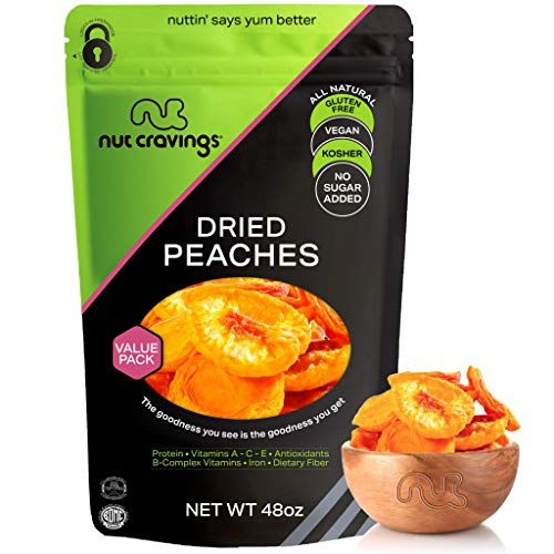 Sun Dried California Peaches, No Sugar Added (48oz - 3 LB) Packed Fresh in Resealable Bag - Sweet Dehydrated Fruit Treat, Trail Mix Snack - Healthy Food, All Natural, Vegan, Kosher Certified