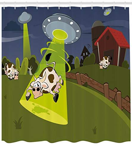 HYTCV Karikatur-Duschvorhang-Bauernhof-Kuh-ausländisches Manga-Druck-Badezimmer Digitaldruck Badvorhang wasserdicht & schimmelresistent (180 * 180CM)