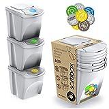Prosperplast ZA852 - Juego de 3 Cubos de Reciclaje, Plástico, 25 L, 24 x 40 x...