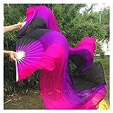 Abanico de baile de seda real con velos de abanico sexy para danza del vientre de pura seda real Fans de la etapa Props Negro/Púrpura/Rosa (talla M: M)