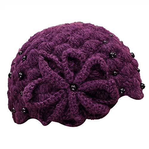 Nosterappou Sombrero de Invierno, Boina, Hembra Dulce Linda Brote de Flor Sombrero otoño e Invierno Tejer Sombrero