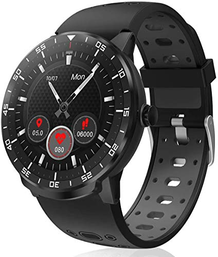 HopoFit Smart Watch Fitness Tracker, HF06 Full Circle Touch Screen Smartwatch, Heart Rate Monitor Sleep Activity Tracker, SMS Call Reminder, Waterproof Pedometer for Android iOS, Men Women (Black)