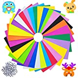 30 PCS EVA Foam Sheets,Assorted Rainbow Colors Foam Handicraft Sheets,Foam Sheets Crafts for Kids,Classroom,Parties,Paper Scrapbooking(15 Colors,12' x 8',with Small Eyes)