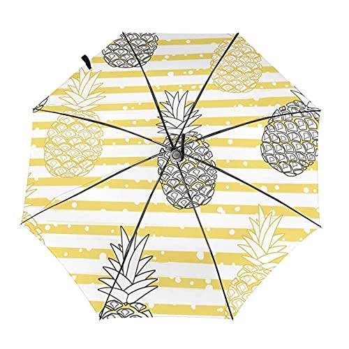 Paraguas plegable de viaje de la raya de la piña amarillo negro diseño automático ligero compacto portátil y alta resistencia al viento