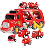AISFA Toy Excavator fire Truck Transporter with Sound and Light, Thick Material, Educational Toys for Boys and Girls Aged 3-6, Friction Power Toys