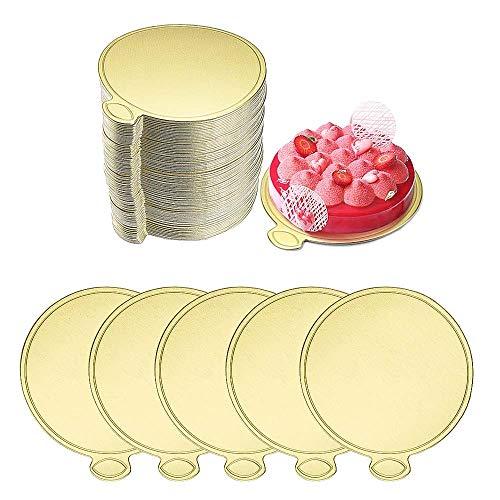 FYSL 100 PCS Mini Bases de Cartón para Tartas, 90cm Tableros De La Torta De Mousse, Bases para Tartas, Redondo Base Tartas Cartón, para Tartas y Postres