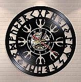 Reloj de Vinilo -30cm Reloj de Pared de la brújula vikinga nórdica misteriosa Talismán nórdico Yelmo de asombro Símbolo de protección Reloj de Registro de Vinilo