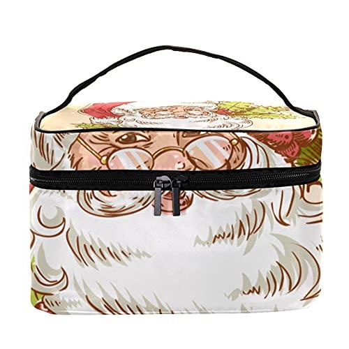 Bolsa de maquillaje de viaje retro de Santa Claus de Navidad, bolsa de maquillaje, organizador de maquillaje, con cremallera, para mujeres y niñas
