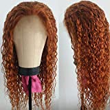 Giannay Orange Curly Wigs for Black Women No Lace Wigs Long Loose Wave Synthetic Wig Heat Resistant Fiber 180% Density Middle Part Loose Wave Orange Wig 24'