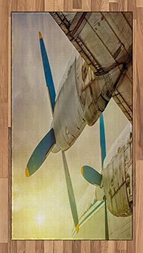 ABAKUHAUS Vintage Vliegtuig Tapijt, oude vliegtuigen, vlak Geweven Vloerkleed voor Woonkamer, Slaapkamer, Eetkamer, 80 x 150 cm, Bruin Blauw Geel