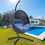 Luxury Large Egg Hanging Chair with Stand Rattan Wicker Outdoor Porch Swing Ox Eye Woved Modern Hanging Egg Chair Heavy Duty Egg Swing Chair for Outdoor Patio Balcony Garden Decoration (Charcoal)