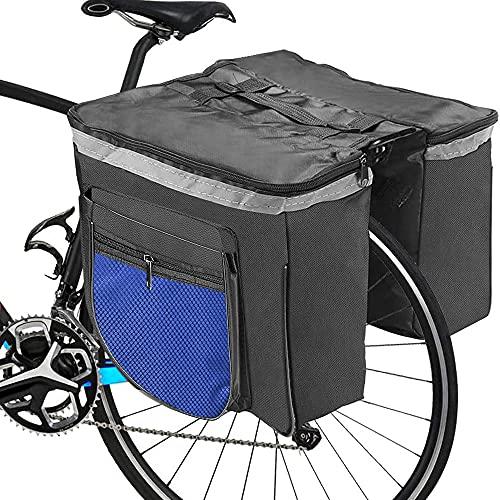 RANJIMA Borsa per Bicicletta, Borse Bici Posteriore Laterali Multifunzionale, Grande capacità Doppia Borsa per Portapacchi,Borsa Bicicletta Impermeabile per Mountain Bike, Bici da Corsa Outdoor (Blu)
