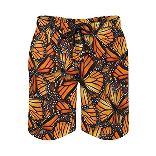 136 Monarch Butterfly - Bañador para hombre de secado rápido para playa, surf, correr, natación, pantalones cortos de natación