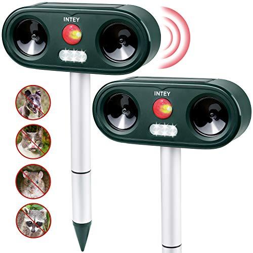 INTEY Repellente Gatti Ultrasuoni e LED Flash per Gatti, Cani, Cinghiali, ect,...