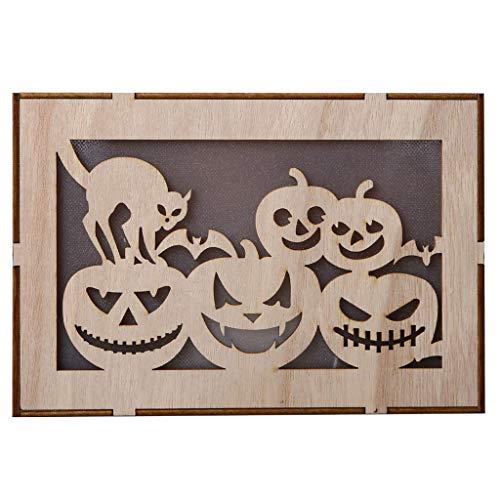 Heetey Halloween Dekoration Holz Kürbis Spukhaus Anhänger LED Nachtlicht Halloween Home Decor Clever Holz Halloween runde Ausschnitte Kürbis Spukhaus Anhänger Hexen-LED-Lichter