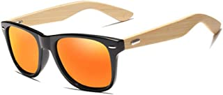 Fashion Sun Glasses Polarized Vintage Travel Eyewear Mirror Lenses Bamboo Sunglasses Men and Women, Retro (Color : Orange)