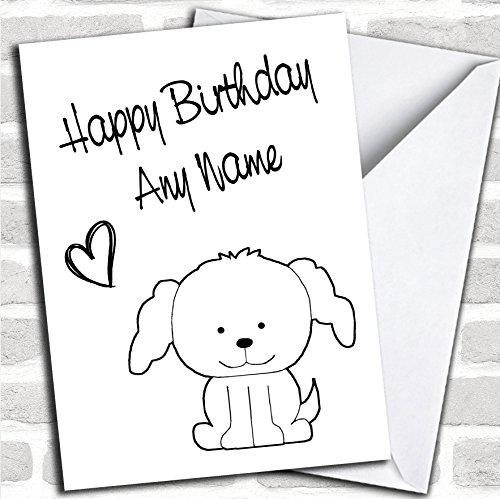 Leuke witte stok hond verjaardagskaart met envelop, kan volledig gepersonaliseerd, snel en gratis verzonden
