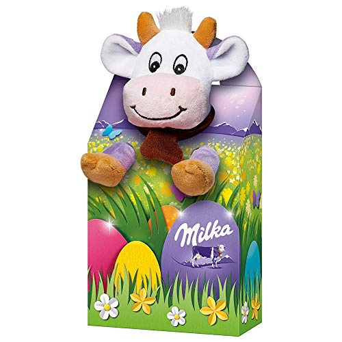 Milka Plüschtier Magic Mix – Mischung aus beliebten zartschmelzenden Milka Osterprodukten – Bunte Mischung mit Plüschtier in drei zufällig ausgewählten Designs – 96g