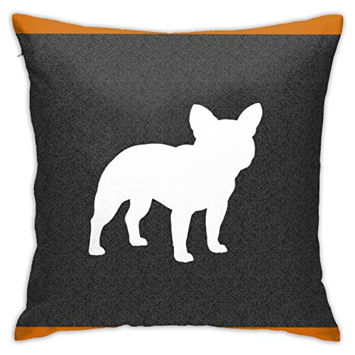 French Bulldog Silhouette Frenchie Dog Throw Pillow Case Square Cushion Cover for Home Sofa Bedroom Living Room Outdoor Garden Car Decorative 18'X18'