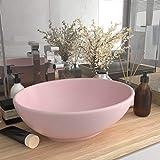 UnfadeMemory Lavabo de Baño de Cerámica Ovalado,Lavabo sobre Encimera,Diseño,...