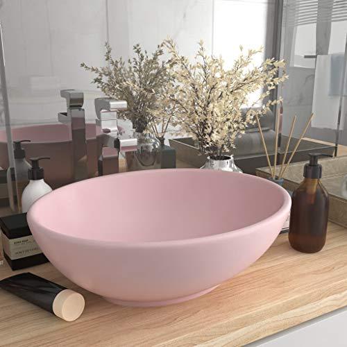 UnfadeMemory Lavabo de Baño de Cerámica Ovalado,Lavabo sobre Encimera,Diseño, Mueble,400x330x135mm (Rosa Mate)