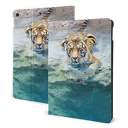 Case For Ipad 8/7 (2020/2019 Model, 8th / 7th Generation), Ipad Air3 & Pro 10.5in Print Theme - Safari Decor Picture Of A Bengal Tiger Lying Near The Water Wild Life Cave Stone Relax Clear Water