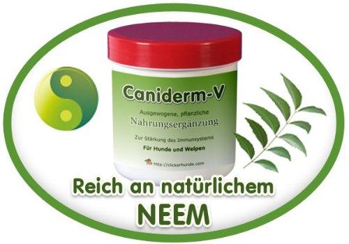 Clickerhunde Caniderm-V, Nahrungsergänzung, für Hunde, bei Hautproblemen, Milben, Ekzemen, Allergien (Einzelpackung)