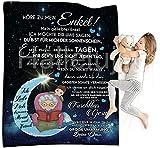 Kuscheldecke Flauschige, An Meine Enkel Nachricht Brief Decke, Personalisierte extra weich & warm Wohndecke Flanell Fleecedecke, Falten beständig/Anti-verfärben als Sofadecke oder Bettüberwurf