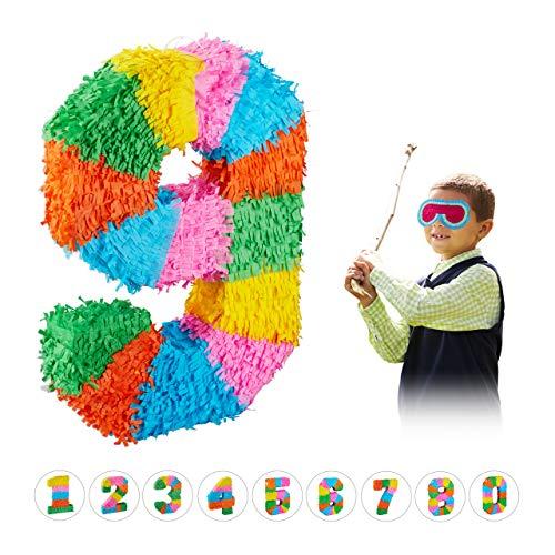 Relaxdays 10025189_911 Pinata Geburtstag, Zahl 9, zum Aufhängen, Kinder & Erwachsene, Papier, zum selbst Befüllen, Piñata, bunt