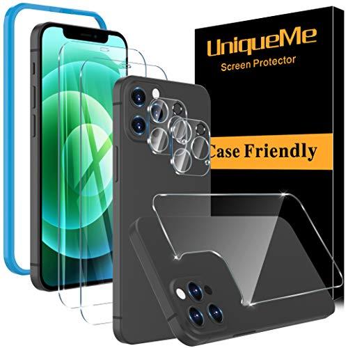 [2+2+1 Pack] UniqueMe Protector de Pantalla Compatible con iPhone 12 Pro Max (6.7 pulgadas) y Protector de lente de cámara y Protector de pantalla trasero Cristal Templado, [Cobertura máxima] HD