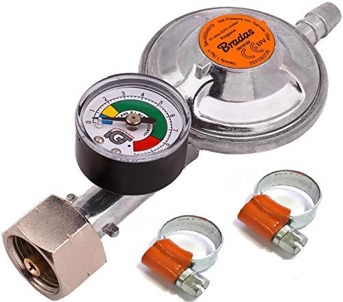 Regulador de gas butano propano 37 mbar, 1,5 kg/h con válvula de emergencia y manómetro + 2 abrazaderas de manguera I PARA manguera de 9-10 mm I Perfecto para barbacoa, camping, caravana, fontanero