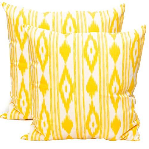 TRESMESTRES Fundas de Cojines - Decoración Ikat - Funda de Almohada Boho de Colores Decorativos - para Sofás - Diseño Mediterráneo con Patrones Rústicos y Vintage - Amarillo, 50x50cm 2-Pack
