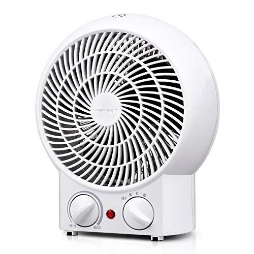 Aigostar Airwin White 33IEK- Mini Heizlüfter 2 Heizstufen (1200/max. 2000 Watt), 5-85°C Thermostat, Kipp- und Überhitzungsschutz, Haushalt Büro Elektrische Heizung weiß. EINWEGVERPACKUNG.