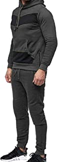 Mens Hoodied Sweatshirt Athletic-Fit Top Pants Sets Tracksuit White US X-Small