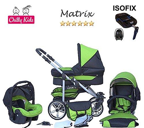 Chilly Kids Matrix 2 poussette combinée Set – hiver (chancelière, siège auto & ISOFIX, habillage pluie, moustiquaire, roues pivotantes) 29 noir & vert