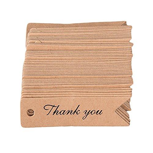 Quanjucheer 100pcs Thank You Label segnalibri fatti a mano lettere di carta prezzo tag Gift Decor, Khaki, Handmade