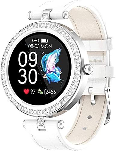 Reloj inteligente para mujer, reloj deportivo, monitor de ritmo cardíaco, IP67, resistente al agua, reloj digital con escalones de calorías, rastreador de sueño, color blanco