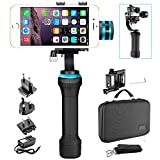 No Brand HHG-01 3 Axis Brushless Motorized Handheld Gimbal Stabilizer for GoPro Hero 3+/4 and Smartphones Width Within 2.2 to 3.6 inches, Such as iPhone 8 plus/8/X, Samsung Galaxy S9/S8,etc