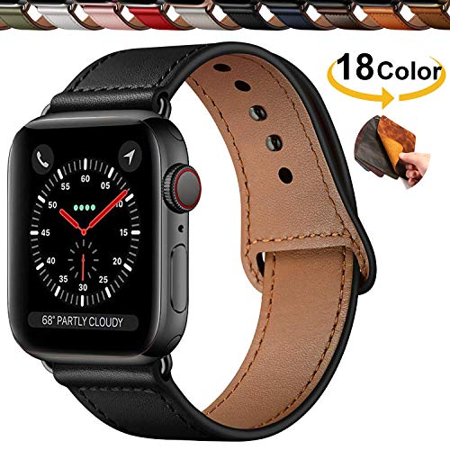 Chok Idea Innovative Cinturino in Vera Pelle Compatible with Apple Watch 42mm 44mm,Covert Buckle Ensure Clean Fit Band Replacment for iWatch Series 5 4/3/2/1,Black