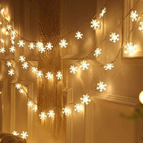 Led Lichterkette,Schneeflocke Lichterketten,Weihnachten Lichterkette 6M 40LED Warmweiß Lichterkette Weihnachtsbaum Stimmungslichte für Hochzeit Party Innen Außen Decoration Sterne Lichterkette