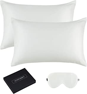 JUSPURBET 6A Grade Silk Pillowcase for Hair and Skin with 1 Slik Eye mask Gift Box, Pack of 2 100% Mulberry Silk Pillow Covers and Hidden Zipper,19mm,Standard,Ivory