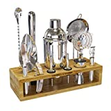 Highball & Chaser Premium Cocktail Shaker Bartender Kit with Natural Bamboo Stand. Beautiful Cobbler Cocktail Shaker Set with Highest Quality Bar Tools. Stainless Steel Bar Set with Stand