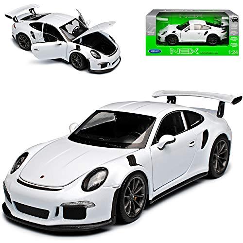 Welly Porsche 911 991 GT3 RS Coupe Weiss 2011-2018 1/24 Modell Auto mit individiuellem Wunschkennzeichen