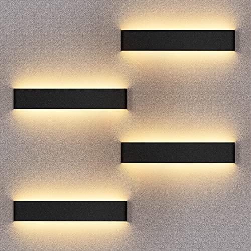 4 Pack Applique Murale Interieur LED 36CM Lampe Murale 3000K Blanc Chaud Moderne Up Down Appliques Murales 12W Luminaire Mural pour Chambre Salon Escalier Couloir