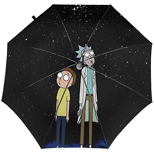 Automatischer dreifachgefalteter Regenschirm Rick Terror Mor-Ty Personalisierter wasserdichter Faltbarer Sonnenschutzschirm Leichte Winddichte UV-Regenschirme