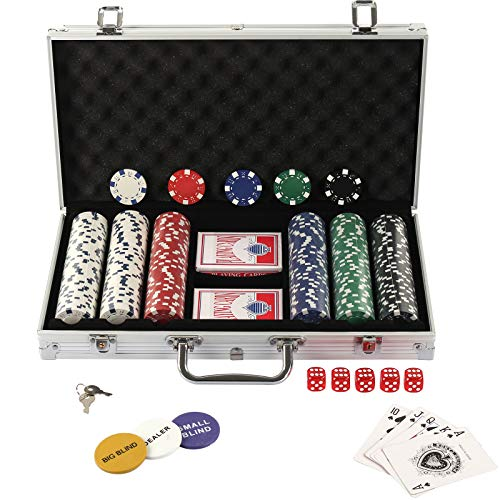 Display4top Super Set da Poker - 300 Chip Laser da 12 Grammi con Centro in Metallo, 2 mazzi di Carte, mazziere, Piccoli ciechi, Grandi Pulsanti ciechi e 5 Dadi