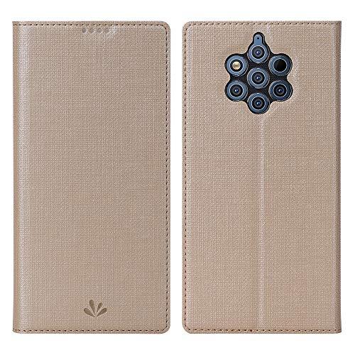 Eactcoo Ersatz für Nokia 9 Pureview Hülle,Premium PU Leder klappbares Folio Flip Hülle TPU Cover Bumper Tasche Mit Standfunktion Magnetverschluss Kartenfach Wallet Handyhülle (Nokia 9 Pureview, Gold)